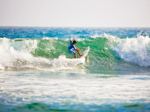 Catching a wave on the famed coast of California