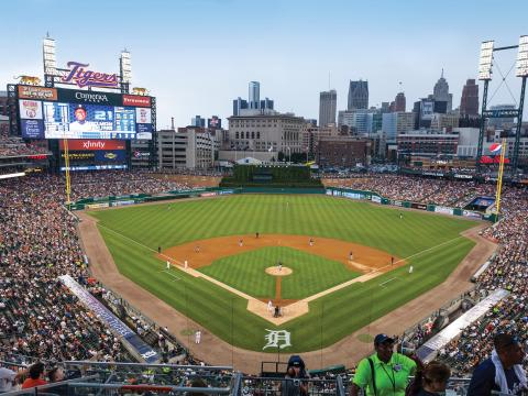 Attending a Detroit Tigers game downtown at Comerica Park