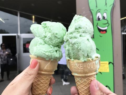 Asparagus-flavored ice cream at the San Joaquin Asparagus Festival in Stockton