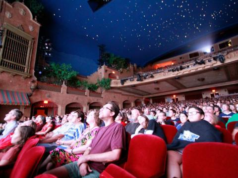 A movie screening at the Plaza Theatre during the Plaza Classic Film Fest in El Paso, Texas